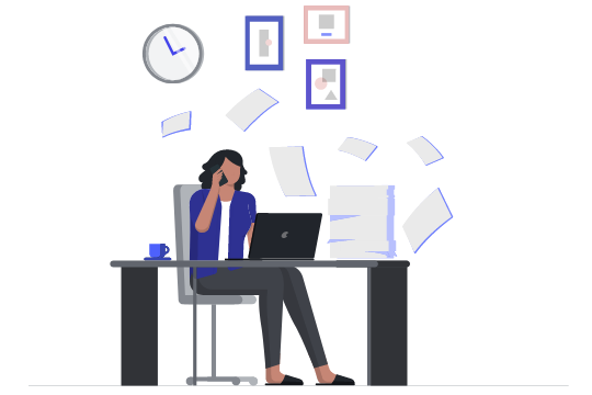 cartoon lady sitting at desk papers flying around her