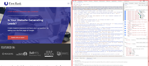 Google Chrome developer tools panel