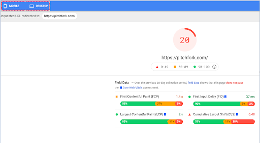 PageSpeed Insights mobile/desktop toggle