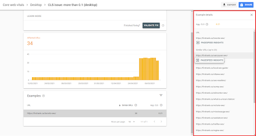search console pagespeed reports
